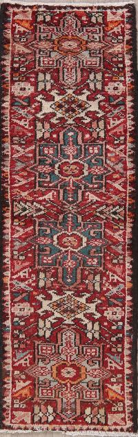 Antique Red Gharajeh Persian Wool Runner Rugs 2x5