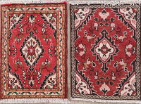 Set of 2 Red Hamedan Persian Wool Rugs 2x2 Square