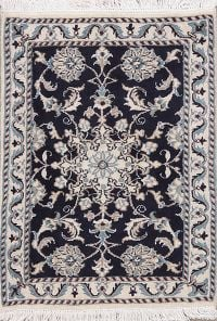 Floral Navy Blue Nain Persian Wool Rug 2x3