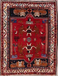 Pictorial Red Shiraz Persian Wool Area Rug 5x8