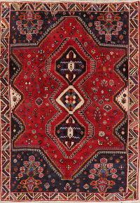 Tribal Red Shiraz Persian Wool Area Rug 6x9