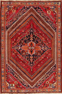 Geometric Red Kashkoli Persian Wool Rug 6x8
