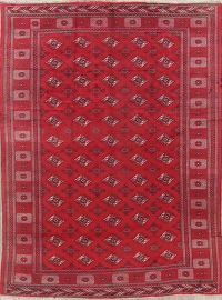 Vintage Red Geometric Balouch Persian Wool Rug 8x11