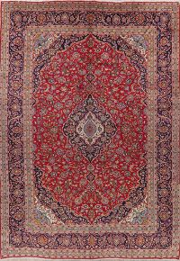 Traditional Floral Kashan Persian Wool Area Rug 10x14