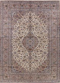 Traditional Ivory Floral Kashan Persian Area Rug 10x13