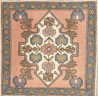 Geometric Oushak Turkish Oriental Wool Rug 2x2 Square