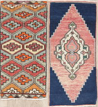 Set if 2 Vintage Anatolian Turkish Oriental Wool Rugs 1x3