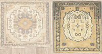 Set of 2 Oushak Turkish Oriental Wool Rugs 2x2 Square
