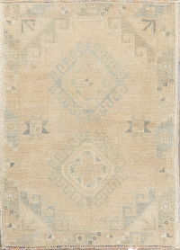 Muted Distressed Oushak Turkish Oriental Wool Rug 2x3