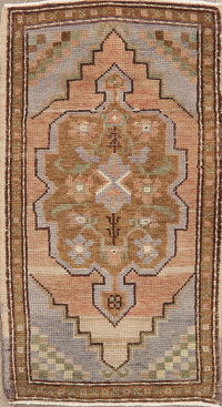 Brown Geometric Oushak Turkish Oriental Wool Rug 2x3