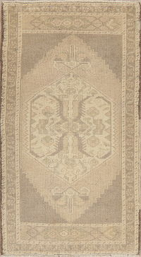 Muted Distressed Oushak Turkish Oriental Wool Rug 2x4