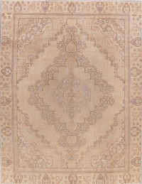 Vintage Tabriz Muted Distressed Persian Area Rug 9x11