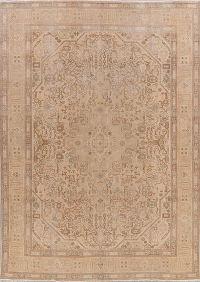 Geometric Tabriz Muted Distressed Persian Area Rug 8x12
