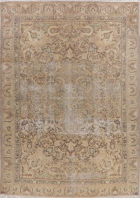 Vintage Tabriz Muted Distressed Persian Area Rug 9x12