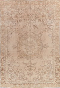 Vintage Tabriz Muted Distressed Persian Area Rug 9x13
