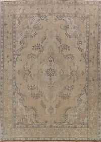 Tabriz Muted Distressed Persian Area Rug 9x13
