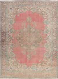 Pink Tabriz Muted Distressed Persian Area Rug 10x13