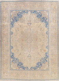 Floral Muted Distressed Mashad Persian Area Rug 9x13