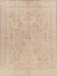 Antique Tabriz Muted Pale Peach Distressed Persian Area Rug 9x13