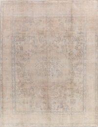 Antique Tabriz Muted Distressed Persian Area Rug 9x12