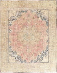 Antique Mashad Muted Distressed Persian Rug 10x12