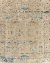 Vintage Kashmar Muted Distressed Persian Area Rug 10x12
