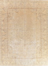 Antique Tabriz Muted Distressed Persian Area Rug 9x13