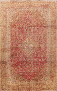 Floral Sarouk Muted Distressed Persian Area Rug 9x12