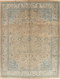 Floral Sarouk Muted Distressed Persian Area Rug 10x13