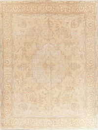 Antique Tabriz Muted Distressed Persian Area Rug 10x13