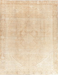Geometric Tabriz Muted Distressed Persian Area Rug 9x12