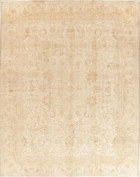 Floral Tabriz Muted Distressed Persian Wool Rug 10x12