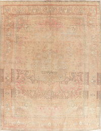 Pink Floral Mahal Muted Distressed Persian Area Rug 10x13