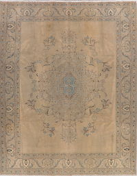 Antique Floral Tabriz Muted Distressed Persian Rug 10x13