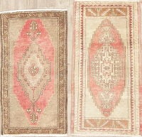 Set of 2 Vintage Oushak Turkish Oriental Wool Rug 2x3
