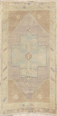 Muted Distressed Vintage Oushak Turkish Wool Rug 2x3