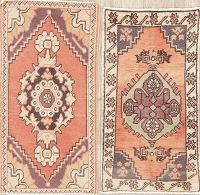 Set of 2 Geometric Oushak Turkish Oriental Wool Rug 2x3
