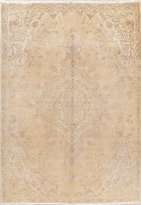 Muted Distressed Floral Tabriz Persian Wool Rug 6x9