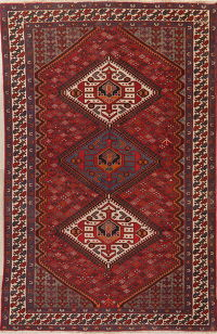 Antique Red Bakhtiari Persian Wool Area Rug 7x10