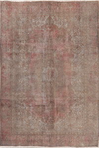 Faded Pink Tabriz Muted Distressed Persian Area Rug 7x10