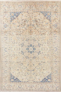 Antique Floral Nain Persian Wool Area Rug 7x10