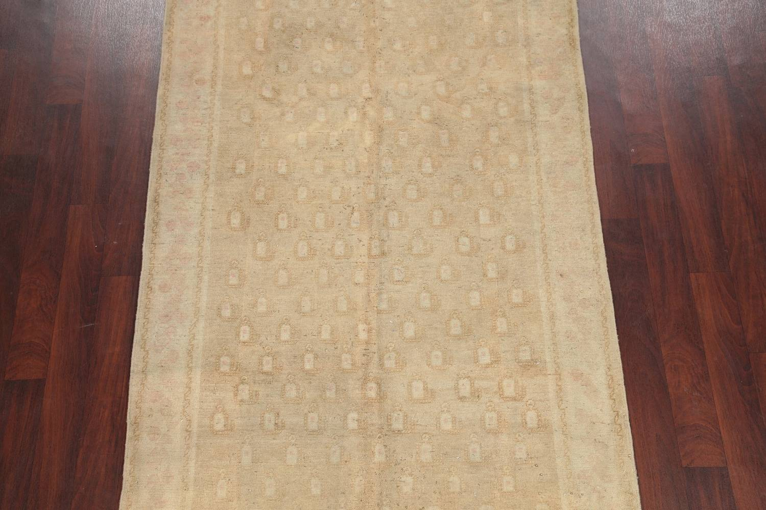 Antique Muted Gold Distressed Sarouk Persian Wool Rug 5x8 image 3