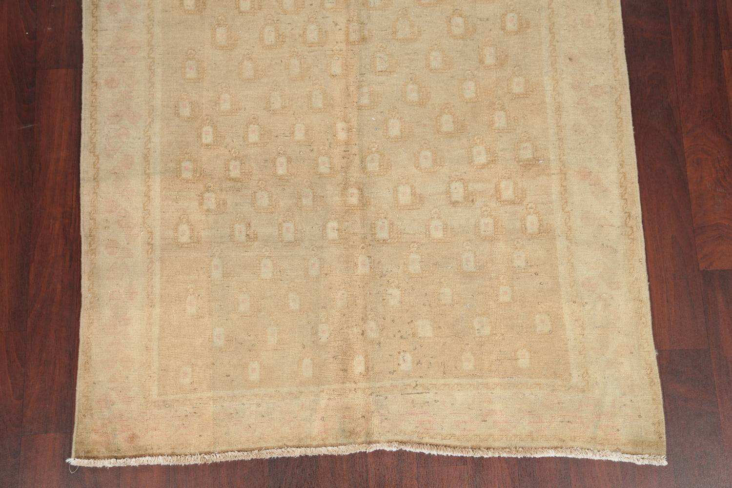 Antique Muted Gold Distressed Sarouk Persian Wool Rug 5x8 image 8