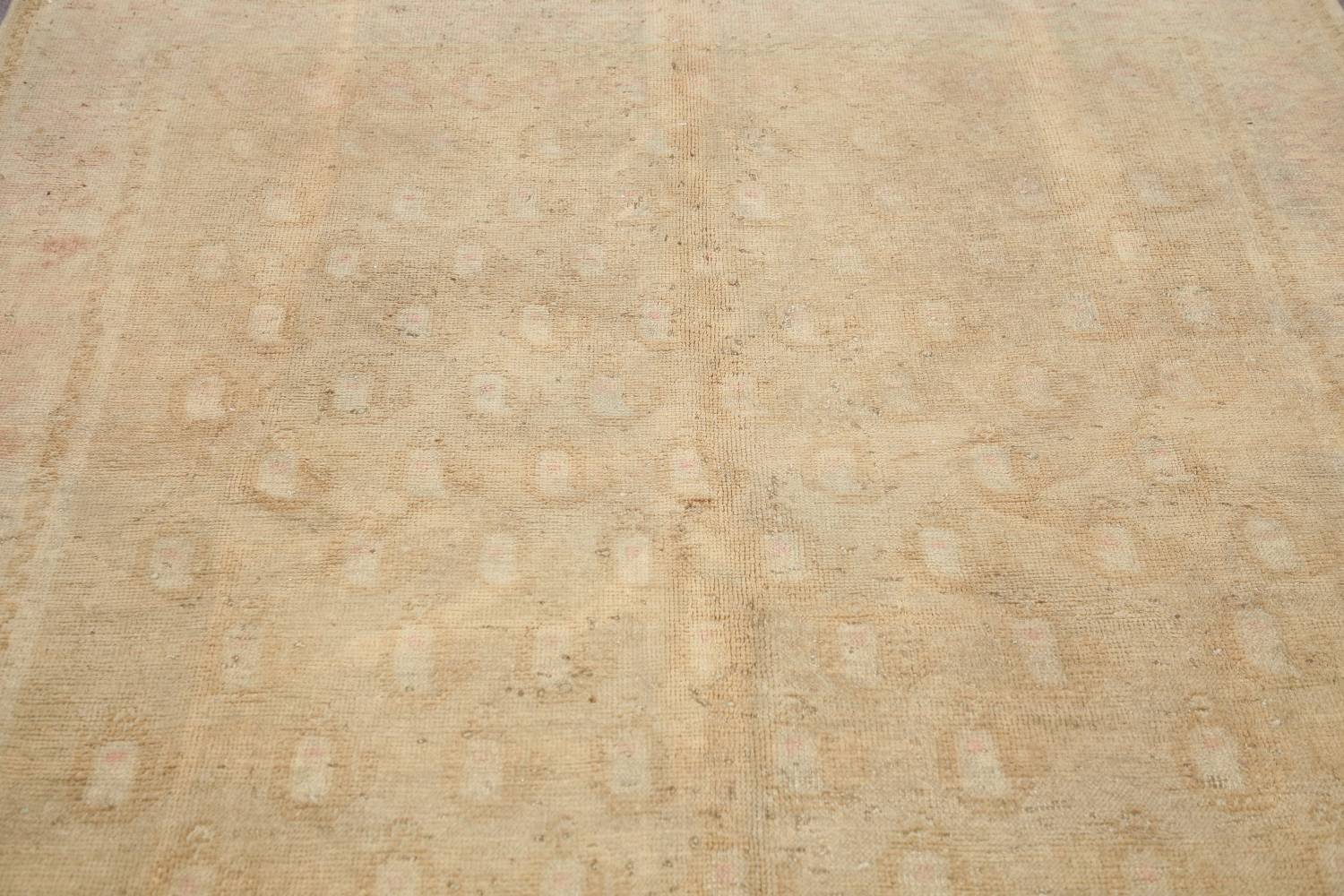 Antique Muted Gold Distressed Sarouk Persian Wool Rug 5x8 image 12