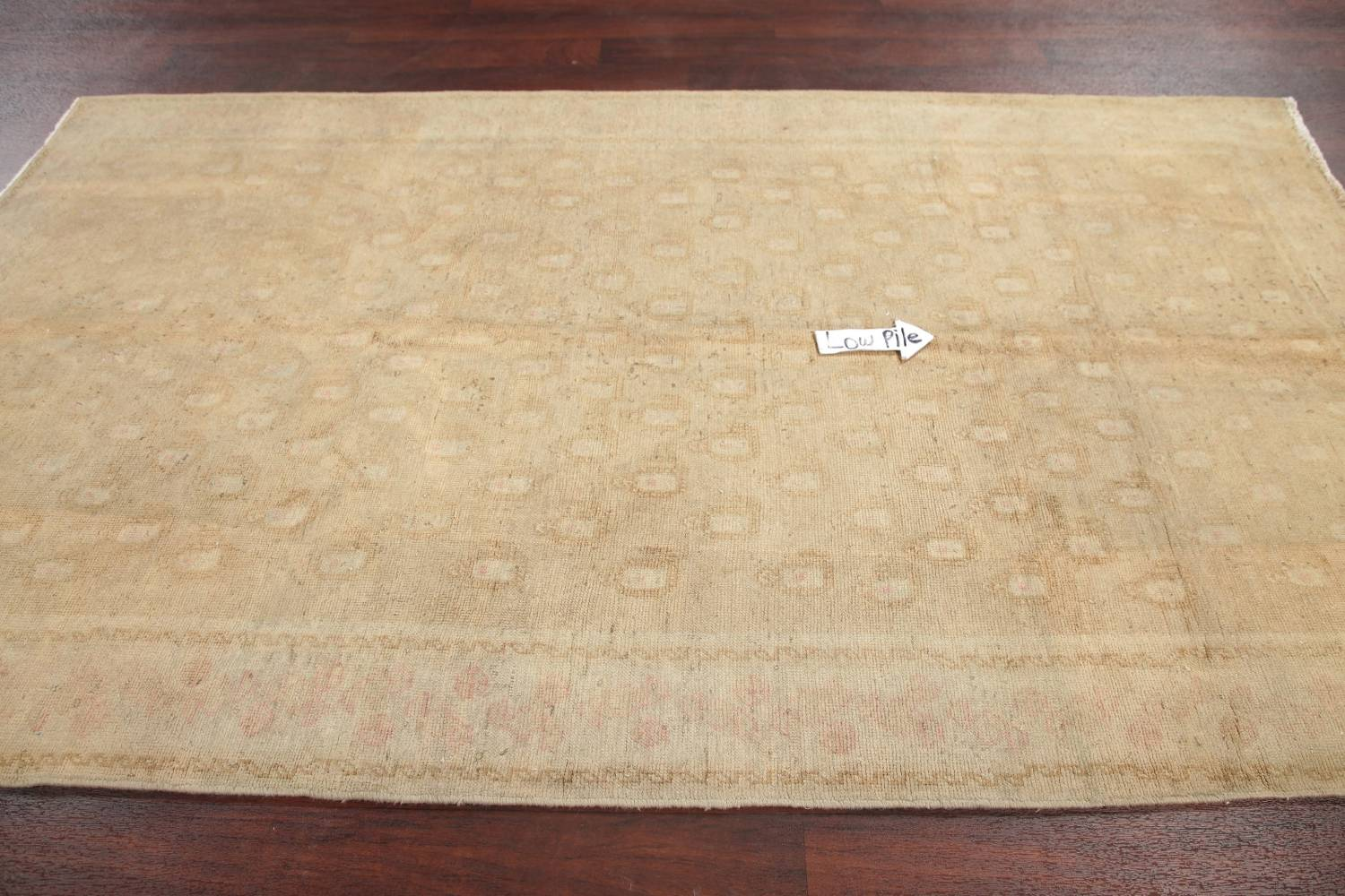Antique Muted Gold Distressed Sarouk Persian Wool Rug 5x8 image 11