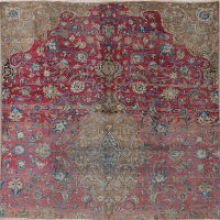 Muted Distressed Kashmar Persian Wool Rug 7x7 Square