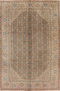 All-Over Vintage Brown Mahal Persian Rug 7x10