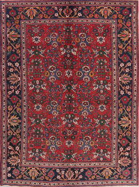 Vintage Red Floral Ardebil Persian Wool Area Rug 7x10