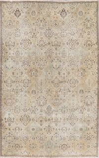 Antique Muted Distressed Bakhtiari Persian Area Rug 7x10