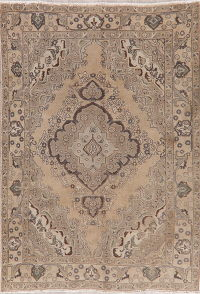Brown Tabriz Muted Distressed Persian Area Rug 7x9